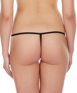 La Intimo Black Women Intimate Polyester Spandex GString