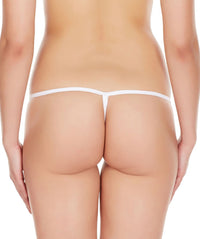 La Intimo White Women Intimate Polyester Spandex GString