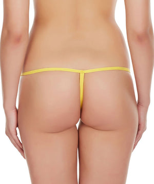 La Intimo Yellow Women Intimate Polyester Spandex GString