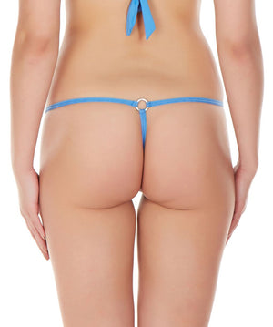 La Intimo Blue Women Intimate Ring Nylon Spandex GString
