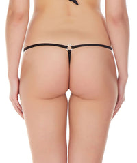 La Intimo Black Women Intimate Ring Nylon Spandex GString