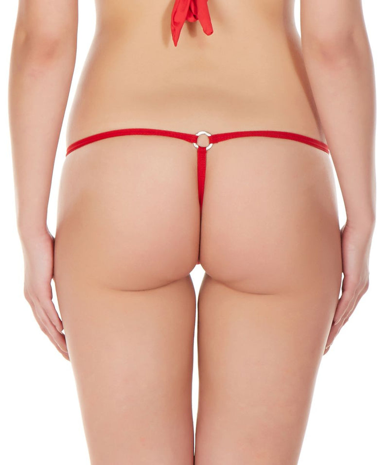La Intimo Red Women Intimate Ring Nylon Spandex GString