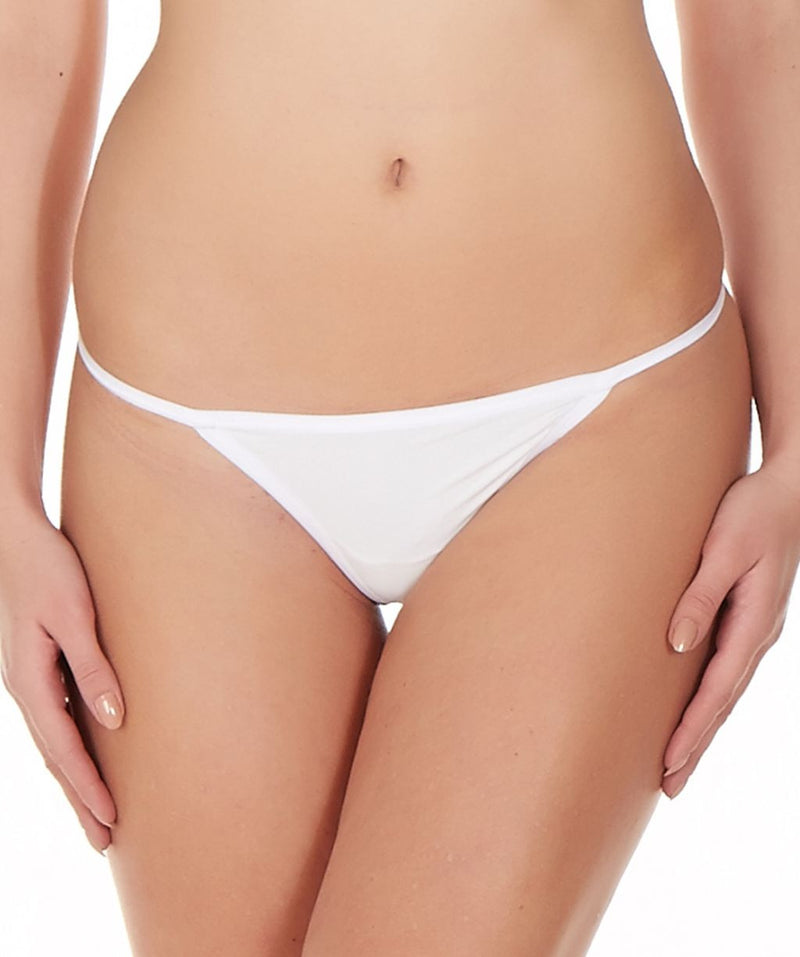 La Intimo White Women Ring String Nylon Spandex GString