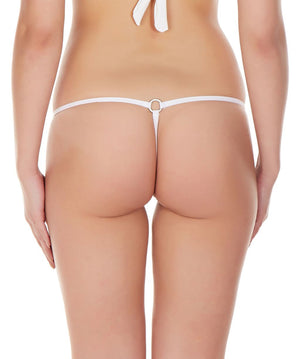 La Intimo White Women Intimate Ring Nylon Spandex GString