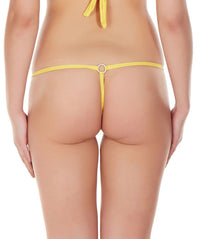 La Intimo Yellow Women Intimate Ring Nylon Spandex GString
