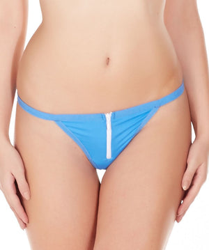 La Intimo Blue Women Zipper String Nylon Spandex GString