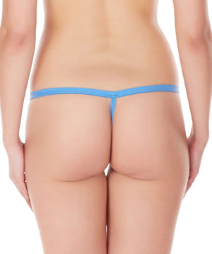 La Intimo Blue Women Intimate Zipper Nylon Spandex GString