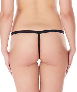 La Intimo Black Women Intimate Zipper Nylon Spandex GString