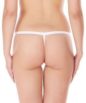 La Intimo White Women Intimate Zipper Nylon Spandex GString