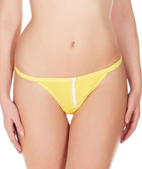 La Intimo Yellow Women Zipper String Nylon Spandex GString