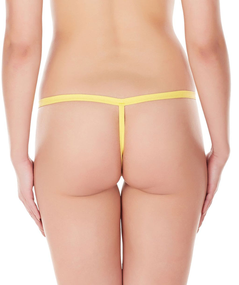 La Intimo Yellow Women Intimate Zipper Nylon Spandex GString