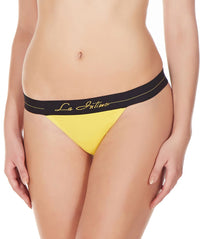 La Intimo Yellow Women Intimate Nylon Spandex GString