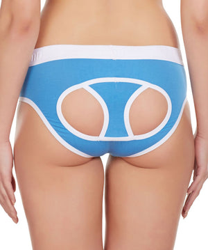 La Intimo Blue Women Window Cotton Modal Spandex Hipster