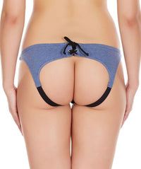 La Intimo Blue Women Drawstring Ring Cotton Spandex Bikini