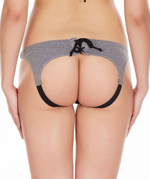 La Intimo Off White Women Drawstring Ring Cotton Spandex Bikini