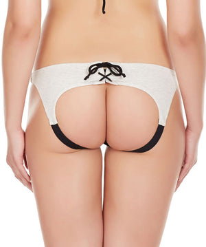 La Intimo Grey Women Drawstring Ring Cotton Spandex Bikini