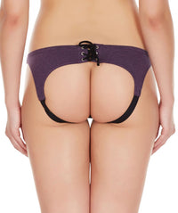 La Intimo Wine Women Drawstring Ring Cotton Spandex Bikini