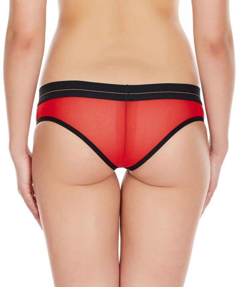 La Intimo Red Women Net Regular Nylon Spandex Bikini