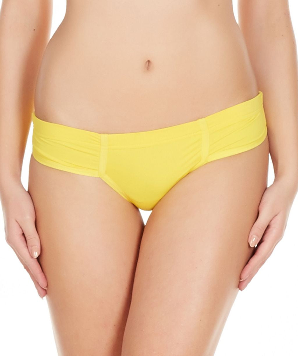 La Intimo Yellow Women Just Cut Panty Nylon Spandex Bikini