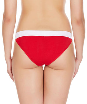 La Intimo Red Women Regular Cotton Modal Spandex Bikini