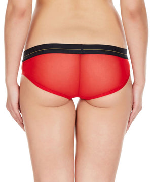 La Intimo Red Women Regular Nylon Spandex Bikini