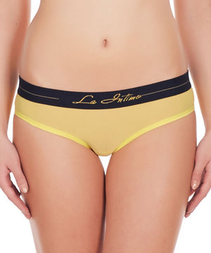 La Intimo Yellow Women Power Girl Shorts Nylon Spandex Bikini