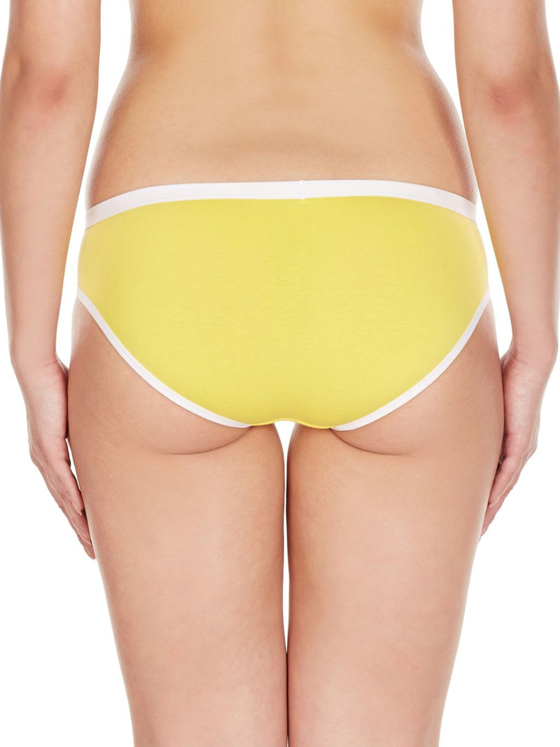 La Intimo Yellow Women Regular Cotton Modal Spandex Bikini