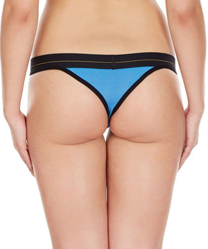 La Intimo Blue Women Minimizer Cotton Modal Spandex Thong