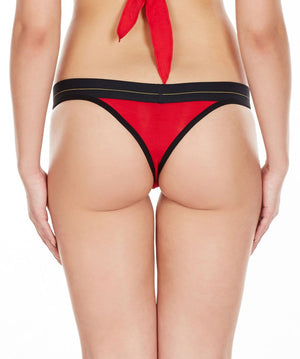 La Intimo Red Women Minimizer Cotton Modal Spandex Thong