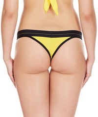 La Intimo Yellow Women Minimizer Cotton Modal Spandex Thong