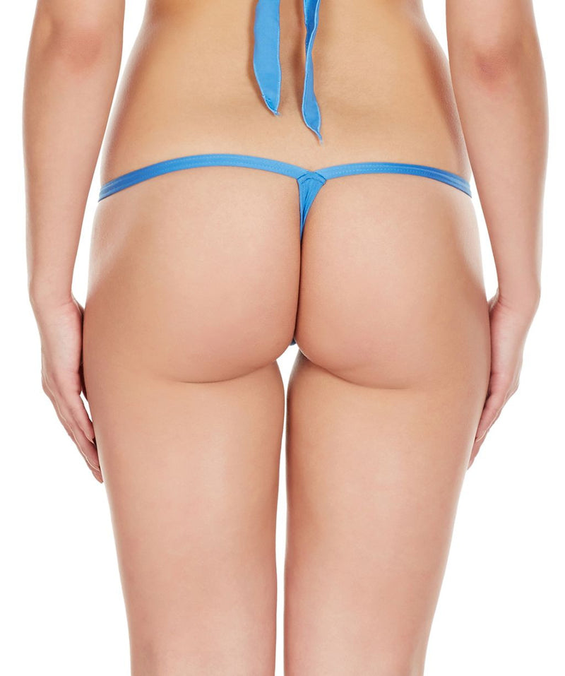 La Intimo Blue Women Intimate Polyester Spandex Thong