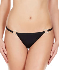 La Intimo Black Women Ring Thong Polyester Spandex Thong