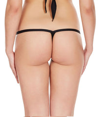 La Intimo Black Women Intimate Polyester Spandex Thong