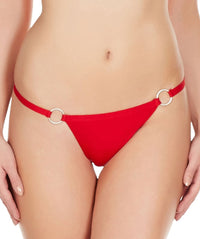 La Intimo Red Women Ring Thong Polyester Spandex Thong