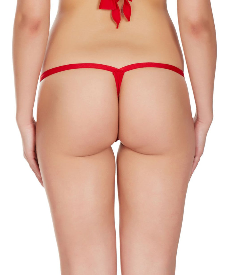 La Intimo Red Women Intimate Polyester Spandex Thong