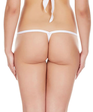 La Intimo White Women Intimate Polyester Spandex Thong