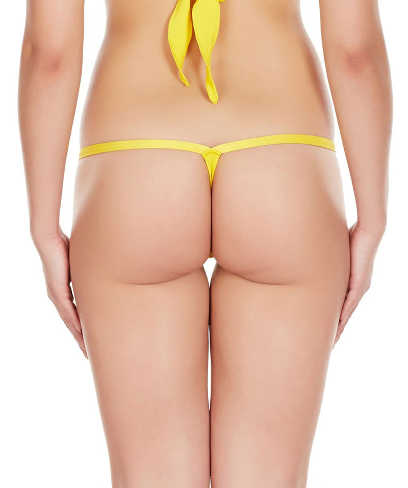 La Intimo Yellow Women Intimate Polyester Spandex Thong