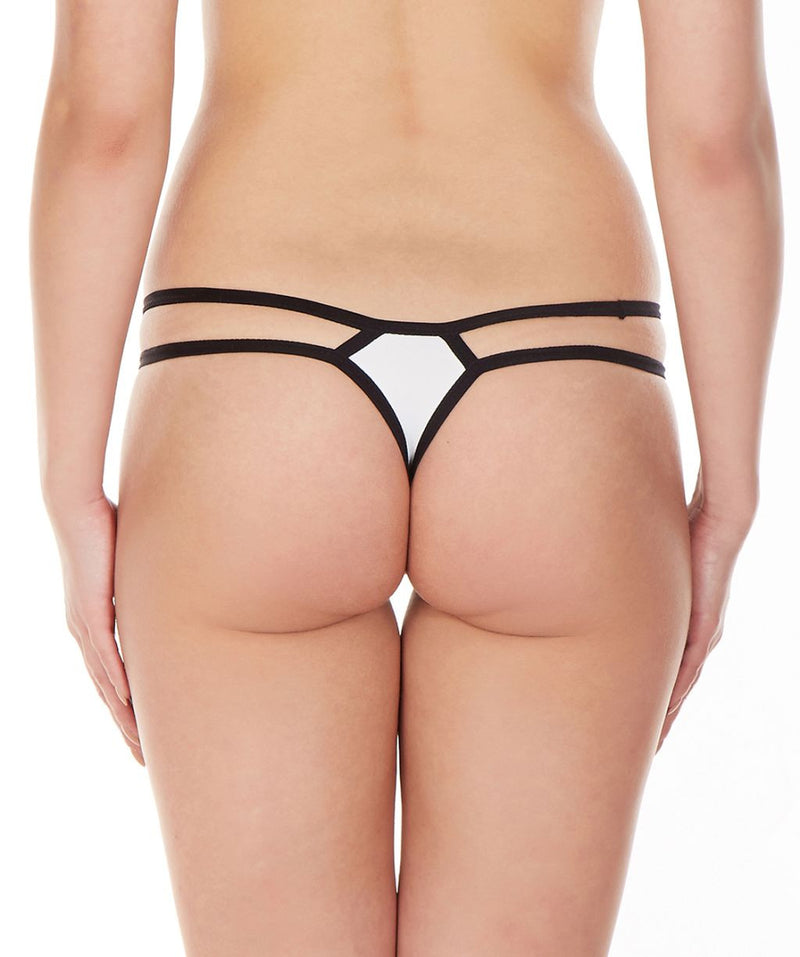 La Intimo White Women Intimate Nylon Spandex Thong