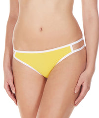 La Intimo Yellow Women Minimizer Designer Thong Nylon Spandex Thong