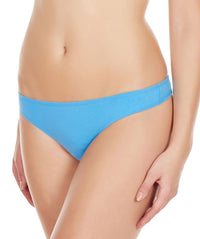 La Intimo Blue Women Minimizer Thong Cotton Spandex Thong