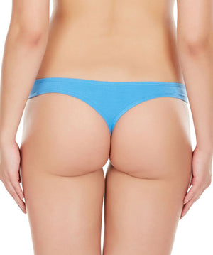 La Intimo Blue Women Regular Cotton Spandex Thong