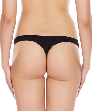 La Intimo Black Women Regular Cotton Spandex Thong