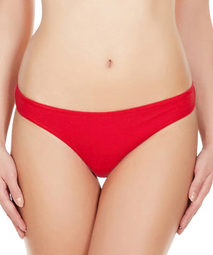 La Intimo Red Women Comfy Thong Cotton Spandex Thong