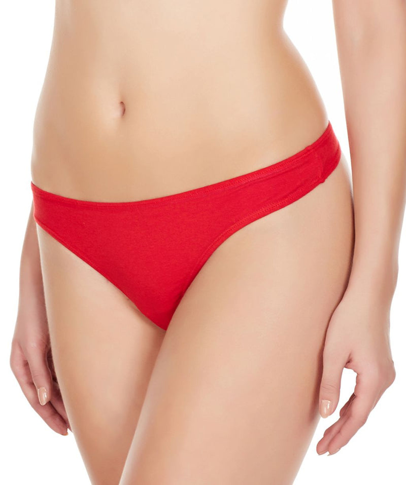 La Intimo Red Women Minimizer Thong Cotton Spandex Thong