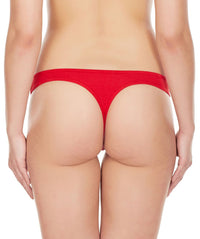 La Intimo Red Women Regular Cotton Spandex Thong