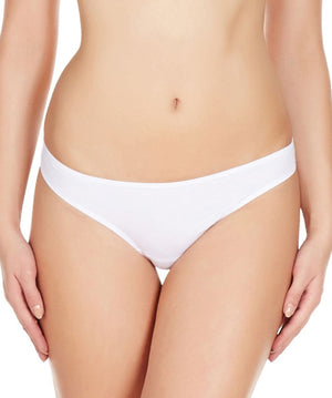La Intimo White Women Comfy Thong Cotton Spandex Thong