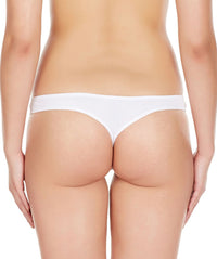 La Intimo White Women Regular Cotton Spandex Thong
