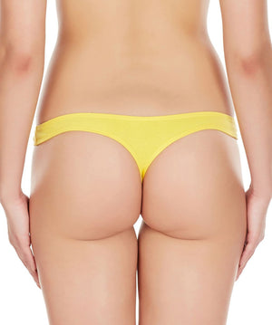 La Intimo Yellow Women Regular Cotton Spandex Thong