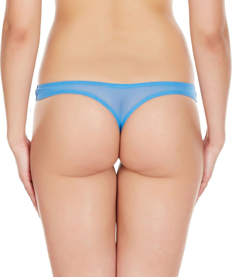 La Intimo Blue Women Regular Nylon Spandex Thong