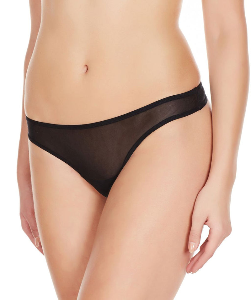La Intimo Black Women Mesh Net Thong Nylon Spandex Thong